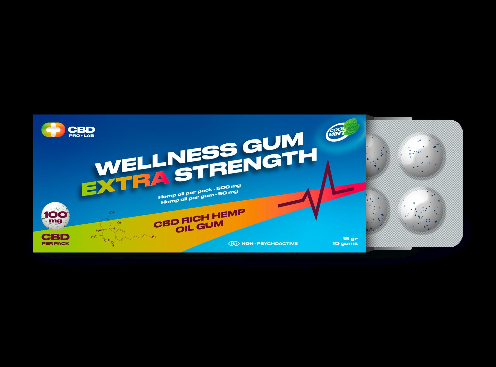 Wellness extra stark Gum CBD-reichahltiger Hanfölkaugummi 10 Kaugummis