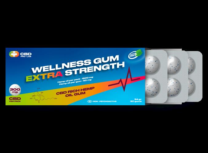 Wellness extra stark Gum CBD-reichhaltiger Hanfölkaugummi 30 Kaugummis