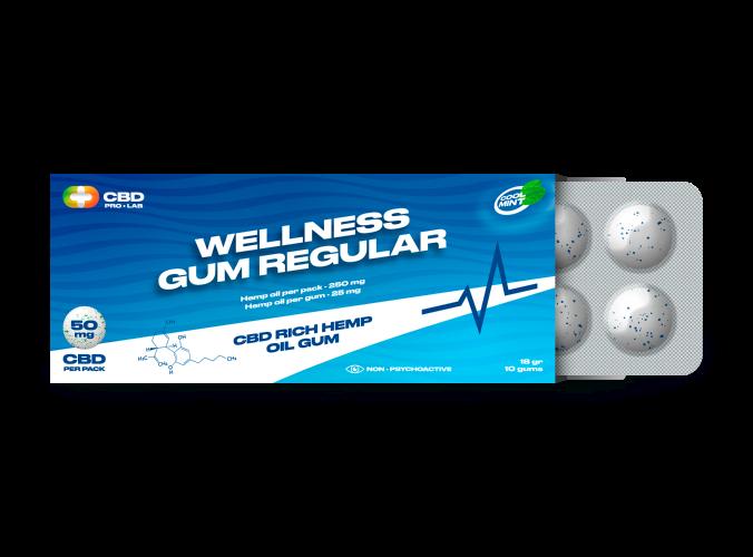 Wellness Regular Gum CBD-reichhaltiger Hanföl-Kaugummi 10 Kaugummis