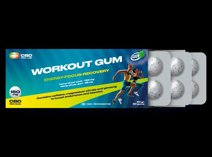 Workout CBD Kaugummi Energie-Fokus-Recovery 30 Kaugummis